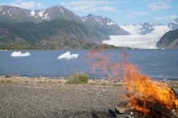 Fire at the Glacier Lake