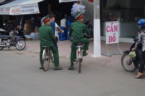 Police men hanging out...